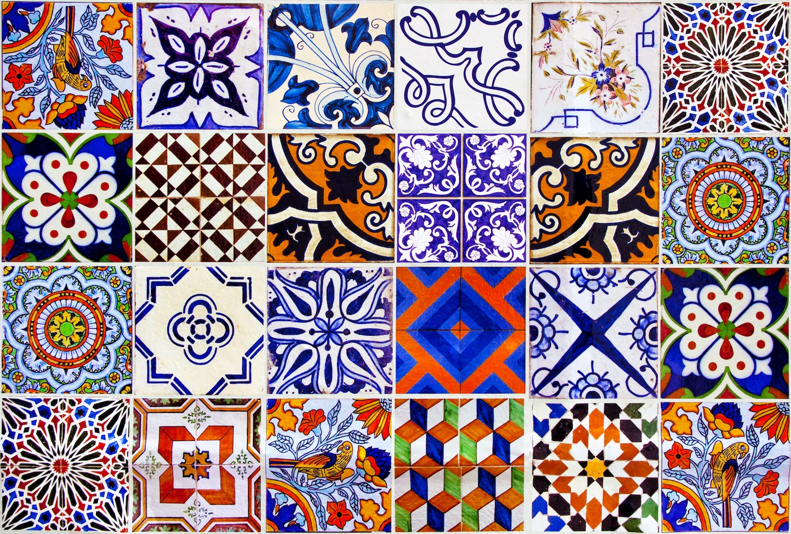 Close up traditional Lisbon ceramic tiles background