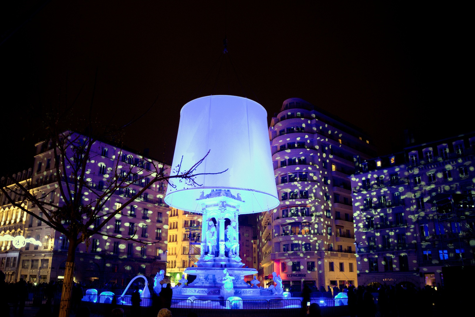 YON, FRANCE - DECEMBER 6, 2014: street view of Festival of Lights in Lyon, France. The origins of the Fête des Lumières date to 1643.