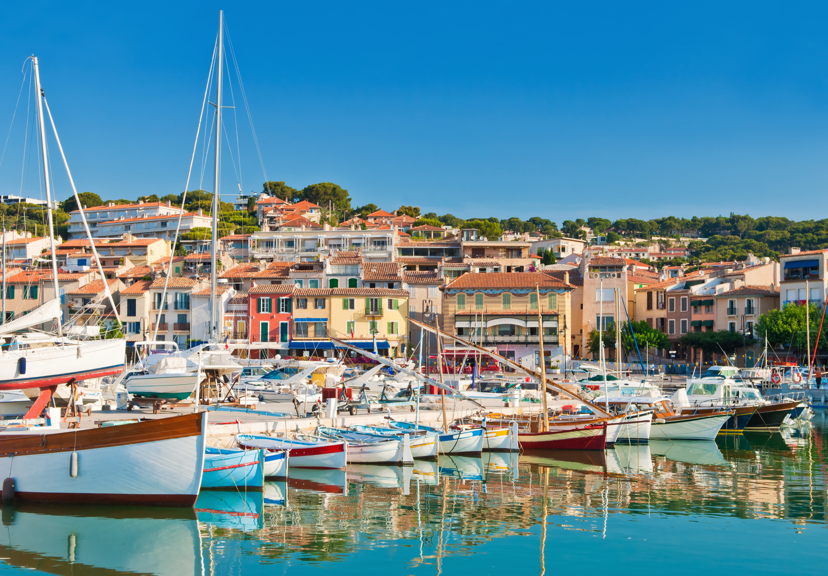 The beautiful town of Cassis in the French Riviera photographed during a clear morning