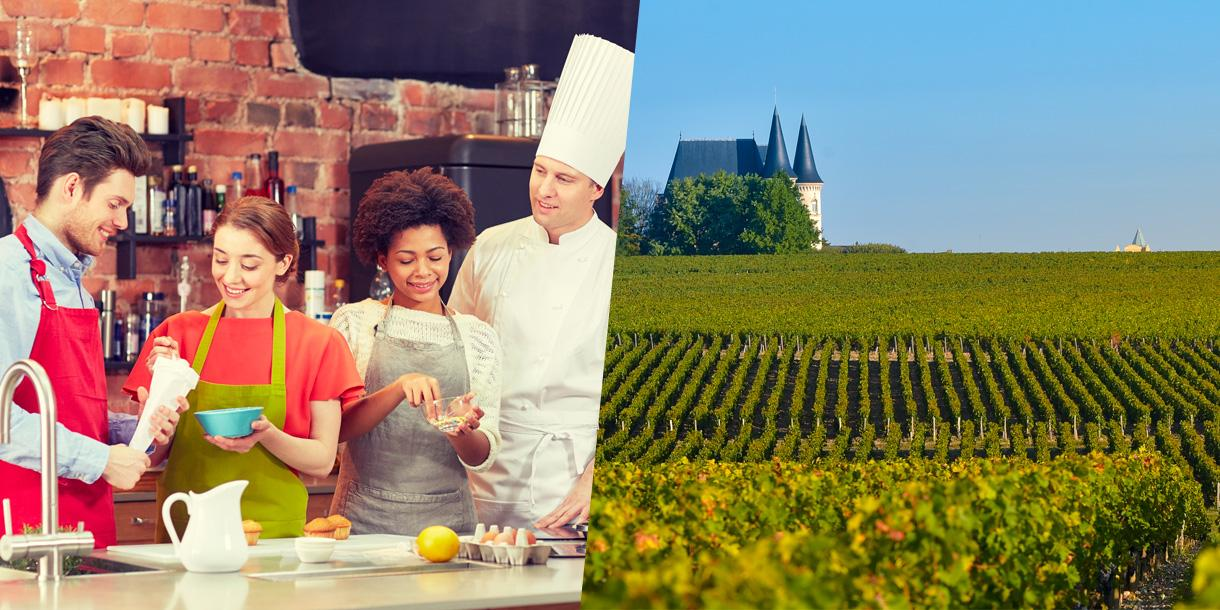Private gastronomy and wine tasting tour in Bordeaux area with cooking class